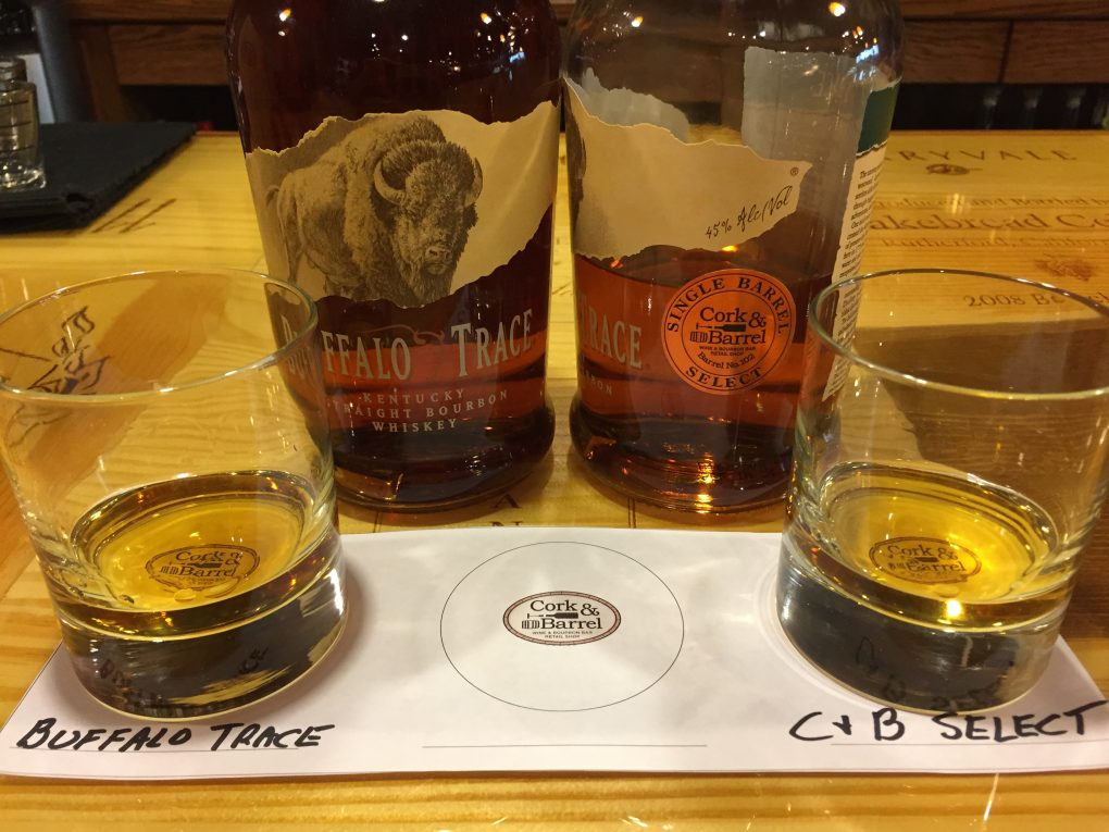 Buffalo Trace bourbon vs Cork & Barrel's Barrel Pick 102